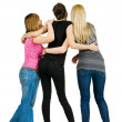 Back view of group of happy young women — Stock Photo