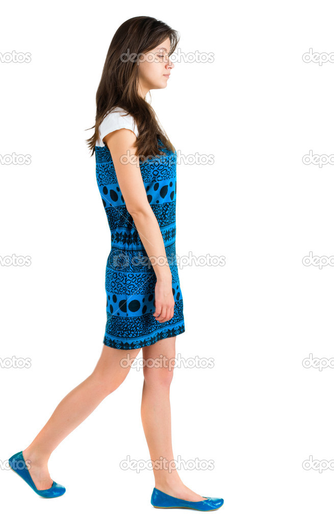 Back side view of going brunette girl . beautiful woman in motion.  backside view of person. Isolated over white background. Rear view collection. — Stock Photo #10233396