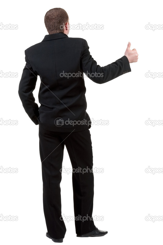 Back view of business man thumbs up. rear view. Isolated over white . Rear view collection. backside view of person. Isolated over white background. — Stock Photo #10624645