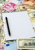 Opened spiral notepad sheet in a cage on money background — Stock Photo