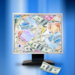 Internet money concept. Computer monitor with money. Online e-co — Stock Photo