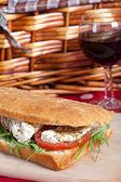 Focaccia bread sandwich — Stock Photo