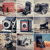 Old cameras collage — Stock Photo