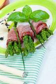 Asparagus with speck — Stock Photo