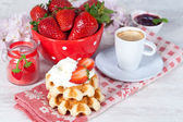 Waffle with strawberries — Stock Photo