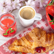 Breakfast with strawberries — Stock Photo