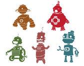 Robot silhouettes — Stok Vektör