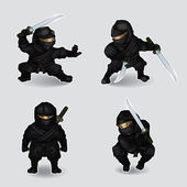 Set of ninja — Stock Vector
