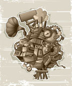 Steampunk mechanism_grunge — Stock Vector