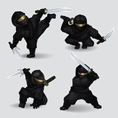 Set of ninja assassins — Stock Vector