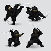Conjunto de asesinos ninja — Vector de stock
