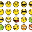 Set of twenty funny emoticons - Stock Vector
