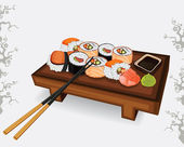 Set of Japanese sushi different species — Stock Vector