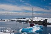 Yacht in Antarctica — Stock Photo