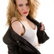 Woman in a leather jacket — Stock Photo #10336198