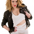 Woman in a leather jacket - Stock Photo