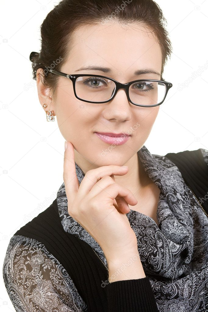 Young attractive woman wearing spectacles. isolated on white — Stock Photo #10336144