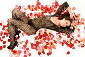 Beautiful girl in black linen — Stock Photo