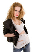 Red-haired girl in leather jacket — Stok fotoğraf
