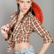 Stock Photo: Girl in a checkered shirt