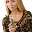 Girl with a glass in a hand - Stockfoto