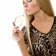 Girl with a glass in a hand — Stock Photo