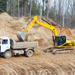 Stock Photo: Backhoe loader loading dumper