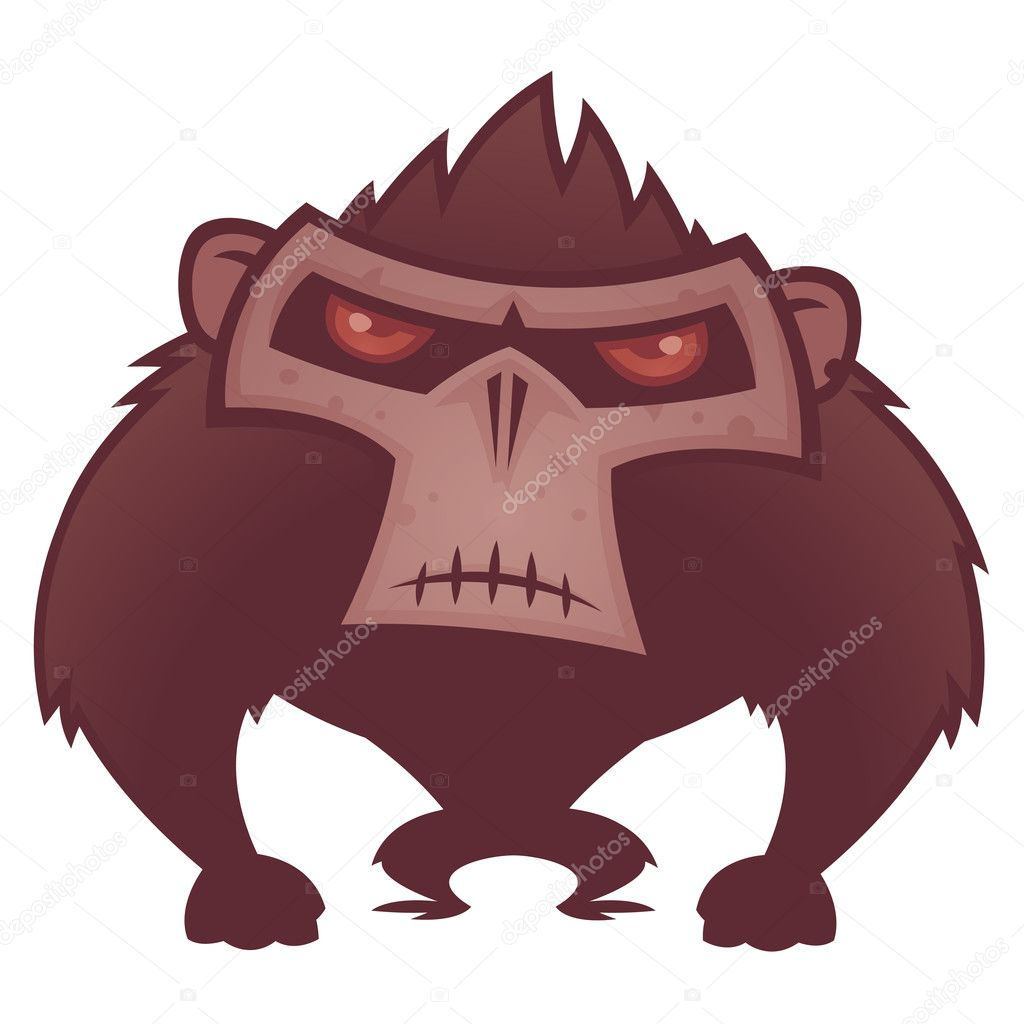 Vector cartoon illustration of an angry ape with red eyes. — Stock Vector #10221233