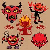 Cartoon Devil Collection — Stock Vector