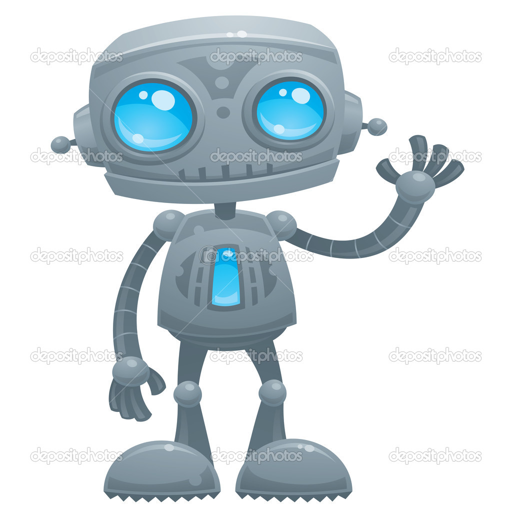 Vector cartoon illustration of a cute and friendly robot with blue eyes waving hello. — Stock Vector #8292471