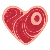Meat Heart — Stock Vector