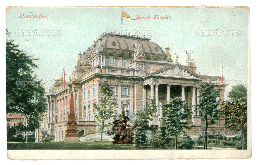 GERMANY - CIRCA 1908: Vintage postcard printed in 1908, Germany. Retro image of The State Theatre in Wiesbaden. The building was built at the request of Kaiser Wilhelm II between 1892 and 1894  Stock Photo #10319950