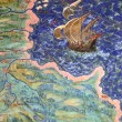 Stock Photo: Fresco of old geographical map