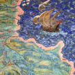 Fresco of the old geographical map — Stock Photo
