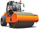 Orange road roller — Stock Vector