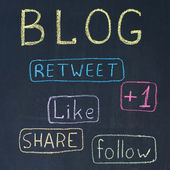 Blog and Share Buttons — Stock Photo