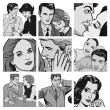 collection d'illustrations montrant des couples amoureux — Photo