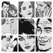 Collection of illustrations showing couples in love — Stok fotoğraf
