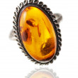 An old, silver antique ring with big amber inside — Stock Photo