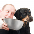 Stock Photo: Portrait of purebred rottweiler Refusing meal in studio.