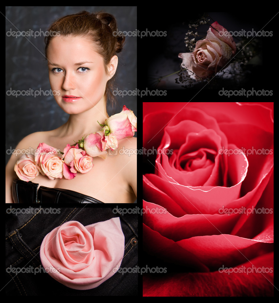 The elegant caucasian young girl against from rose — Stock Photo #9885050