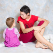 Mother abuses the daughter for disobedience — Stock Photo