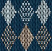 Styl bezešvé modrá barva pletené ornament — Stock vektor