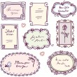 Cute doodle floral vector frame set - Grafika wektorowa