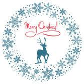 Fundo de festão de neve de natal com veado — Vetor de Stock
