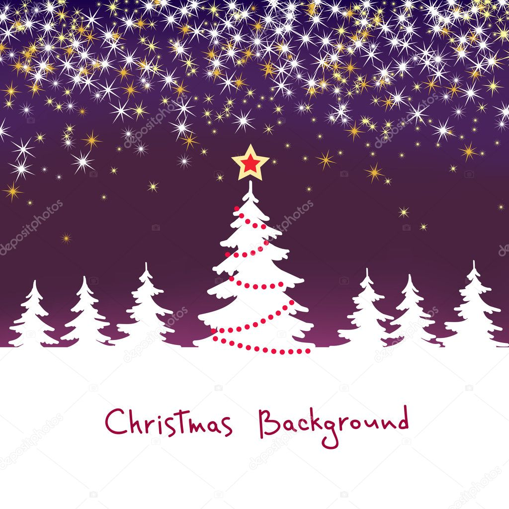 Christmas sparkle  background with tree  Stock Vector #7971905