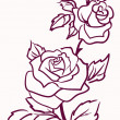 Three stylized pale roses  isolated on light  background, vector - Stock Vector