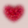 Red color halftone heart shape — Stock Vector