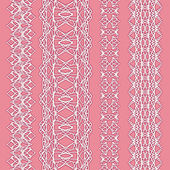 Collection of cute white straight lace (vector set) — Stockvektor