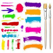 グランジのブラシとペイント要素。塗装済み完成品バナーをベクトルします。 — ストックベクタ